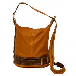 Dámska kožená kabelka/batoh 1201 koňaková Made in Italy, Koňak