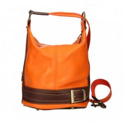 Dámska kožená kabelka/batoh 1201 oranžová Made in Italy, Oranžová