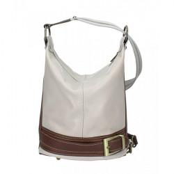 Dámska kožená kabelka/batoh 1201 šedá Made in Italy, Šedá