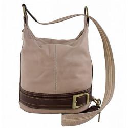 Dámska kožená kabelka/batoh 1201 šedohnedá Made in Italy Šedohnedá