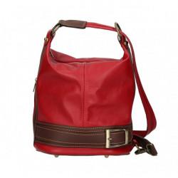 Dámska kožená kabelka/batoh 1201 tmavočervená Made in Italy, Červená