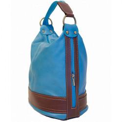 Dámska kožená kabelka/batoh 1201 tmavočervená Made in Italy, Červená #3