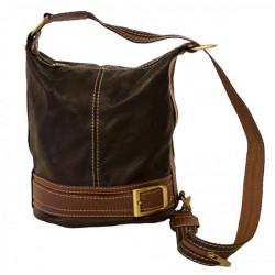 Dámska kožená kabelka/batoh 1201 tmavohnedá Made in Italy, Hnedá