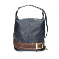 Dámska kožená kabelka/batoh 1201 tmavomodrá Made in Italy, Modrá
