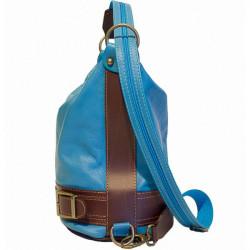 Dámska kožená kabelka/batoh 1201 tmavomodrá Made in Italy, Modrá #2