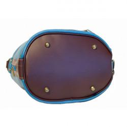 Dámska kožená kabelka/batoh 1201 tmavomodrá Made in Italy, Modrá #4