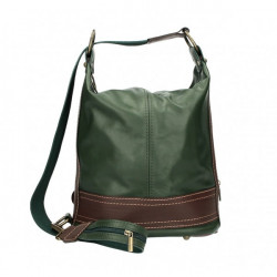Dámska kožená kabelka/batoh 1201 tmavozelená Made in Italy Zelená