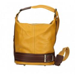 Dámska kožená kabelka/batoh 1201 žltá Made in Italy, Žltá