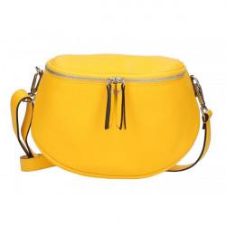 Dámska kožená kabelka na rameno 5332 žltá, Žltá