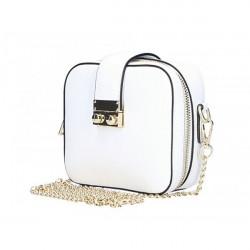 Dámska kožená kabelka na rameno 5334 biela, Biela