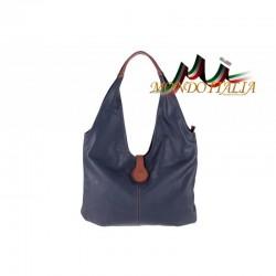 Dámska kožená kabelka na rameno 689 modrá MADE IN ITALY
