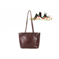 Dámska kožená kabelka na rameno 766 hnedá MADE IN ITALY