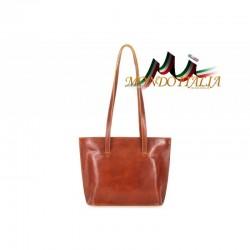 Dámska kožená kabelka na rameno 766 koňak MADE IN ITALY
