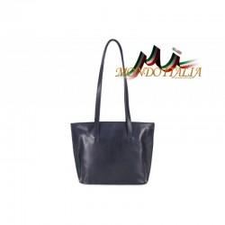 Dámska kožená kabelka na rameno 766 modrá MADE IN ITALY