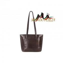 Dámska kožená kabelka na rameno 766 tmavohnedá MADE IN ITALY