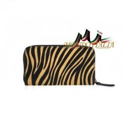 Dámska kožená peňaženka 509 zebra tmavá MADE IN ITALY 509