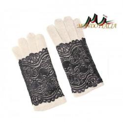 Dámske rukavice s čipkou 779, Univerzálna, Šedohnedá