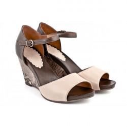 Dámske sandále na klíne 892 béžové Freemood, Béžová, 40 #1