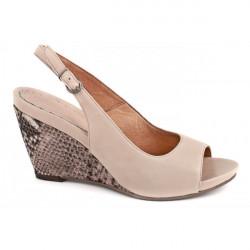 Dámske sandále na klíne 893 béžové Freemood, Béžová, 39