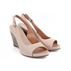 Dámske sandále na klíne 893 béžové Freemood, Béžová, 39 #1