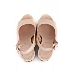 Dámske sandále na klíne 893 béžové Freemood, Béžová, 39 #3