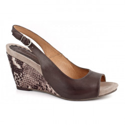 Dámske sandále na klíne 894 hnedé Freemood, Hnedá, 40