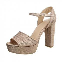 Dámske sandále na platforme 1308A zlaté, 40, zlatá