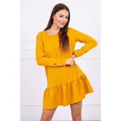 Dámske šaty s volánom MI66188 okrové Univerzálna Okrová