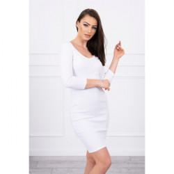 Dámske šaty s výstrihom MI8863 biele Univerzálna Biela