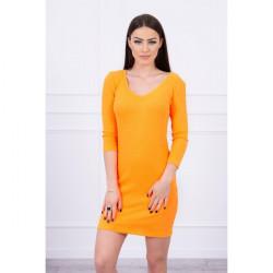 Dámske šaty s výstrihom MI8863 oranžový neón Univerzálna Oranžová/neón