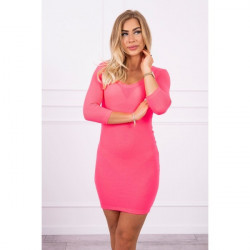 Dámske šaty s výstrihom MI8863 ružový neón Univerzálna Ružová/neón