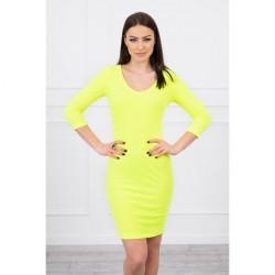 Dámske šaty s výstrihom MI8863 žltý neón Univerzálna Žltá/neón