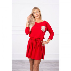 Dámske šaty zdobené flitrovým vreckom MI9004 červené Univerzálna Červená