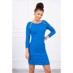 Dámske šaty zdobené gombíkmi MI5198 azurovo modré Univerzálna Modrá