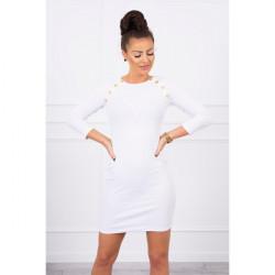 Dámske šaty zdobené gombíkmi MI5198 biele Univerzálna Biela