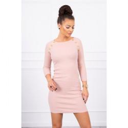 Dámske šaty zdobené gombíkmi MI5198 pudrovo ružové Univerzálna Pudrová ružová