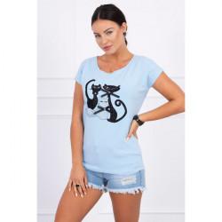 Dámske tričko MI63232 nebesky modré BLACK CAT, Uni, Nebesky modrá