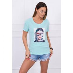 Dámske tričko s grafikou ženy MI5405 mätové, Uni, Mäta