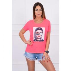 Dámske tričko s grafikou ženy MI5405 pudrovo ružové, Uni, Pudrová ružová