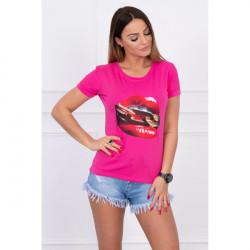 Dámske tričko s potlačou červených pier MI5428 fuchsia, Uni, Fuchsia