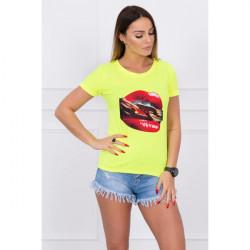 Dámske tričko s potlačou červených pier MI5428 žlté, Uni, Žltá/neón