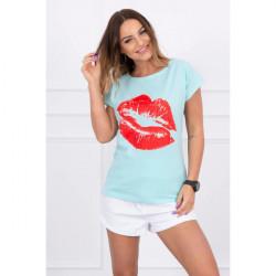 Dámske tričko s potlačou pier MI8985 mätové, Mäta