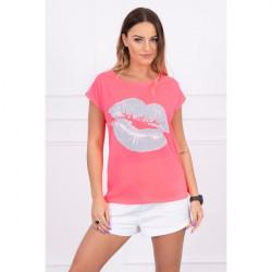 Dámske tričko s potlačou pier MI8985 neónovo ružové, Ružová/neón