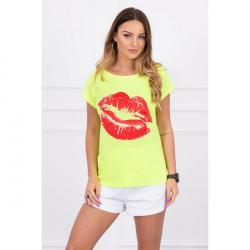 Dámske tričko s potlačou pier MI8985 neónovo žlté, Žltá/neón