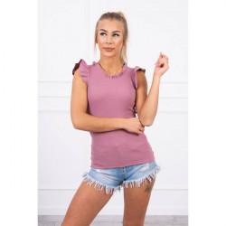 Dámske tričko zdobené volánikmi MI9092 tmavoružové Univerzálna Ružová