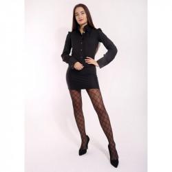Dámske vzorované pančuchové nohavice 8280 talianskej značky Primavera International, L, čierna