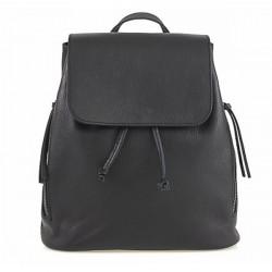 Dámsky kožený batoh 420 Made in italy čierny, Čierna