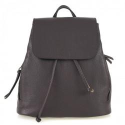 Dámsky kožený batoh 420 tmavohnedý Made in italy, Hnedá