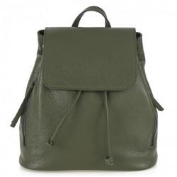 Dámsky kožený batoh 420 vojensky zelený Made in italy, Zelená