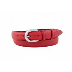 Dámsky kožený opasok 140 červený Made in Italy, Červená, 105/120 cm